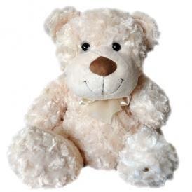 Мягкая игрушка - МЕДВЕДЬ белый, с бантом 33 см