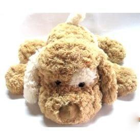 Мягкая игрушка СОБАКА (коричневая, белое ухо) 32 см