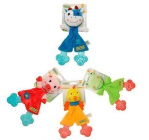 Игрушка с прорезывателем BABY TEAM Хрюша, Коровка, Жабка, Цыпа