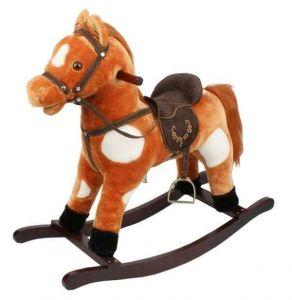 Игрушечный конь - качалка с музыкой, цв.коричнево/белый