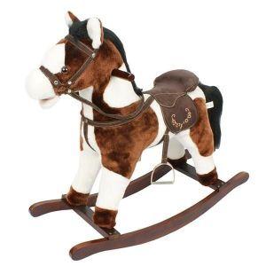 Игрушечный конь - качалка с музыкой, цвет:темно-коричневый/белый