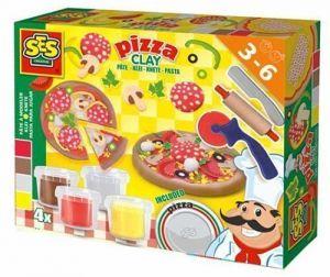 Незасыхающая масса для лепки Ses - ПИЦЦА (4 цвета, в пластиковых баночках, инструменты)