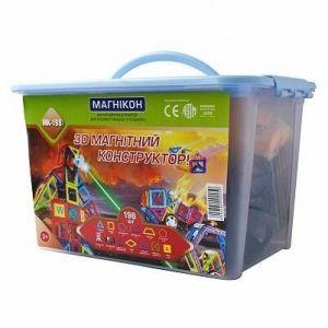 Магнитный конструктор 3-D МАГНИКОН 118 деталей Plastic box