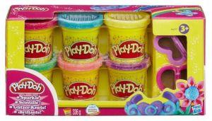 Набор пластилина из 6 баночек Play-Doh с блестками, Hasbro