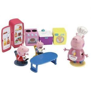 Игровой набор Свинка Пеппа - КУХНЯ ПЕППЫ (кухонная мебель и техника, 3 фигурки)