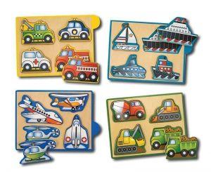 Машинки-набор из 4 пазлов Melissa & Doug