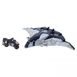 Самолет Мстителей внутри фигурка Первого Мстителя и мотоцикл
