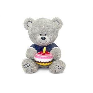 Мягкая игрушка - МЕДВЕЖОНОК НИКИ С ТОРТОМ (муз., 21,5 см)