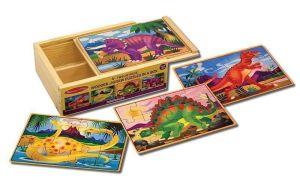 Деревянные пазлы Melissa & Doug Динозавры набор из 4 пазлов MD3791