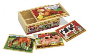 """Деревянный пазл Melissa & Doug """"Животные на ферме"""" - набор из 4 пазлов MD3793"""