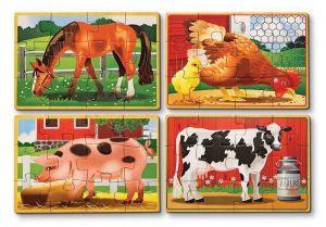 Деревянный пазл Животные на ферме Melissa & Doug набор из 4 пазлов MD3793
