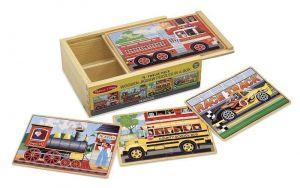 Деревянные пазлы Melissa & Doug Машинки, набор из 4 пазлов MD3794