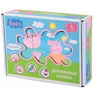 Деревянный игровой набор Peppa – КУБИКИ ПЕППЫ (6 кубиков 4,5х4,5 см, 6 картинок-подсказок)