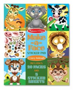 "MD18605  Набор наклеек ""Забавные животные"" - Make-a-Face Sticker Pad - Crazy Animals"