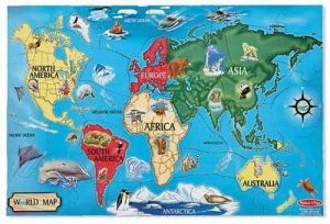 Напольный пазл Карта Мира, Melissa & Doug 33 элемента