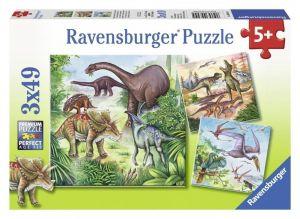 Пазл Ravensburger Захватывающие динозавры 3х49 элементов