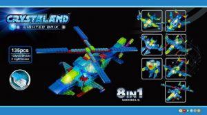 Светящийся конструктор CRYSTALAND Воздушное судно и робот 8 в 1