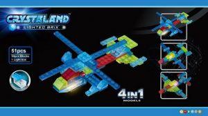 Светящийся конструктор CRYSTALAND Самолет и вертолет 4 в 1