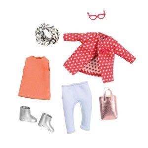 Набор одежды для кукол LORI Красное пальто с узором LO30014Z