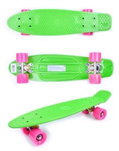 Скейтборд детский  GO Travel зеленый рожевые колеса 56 см