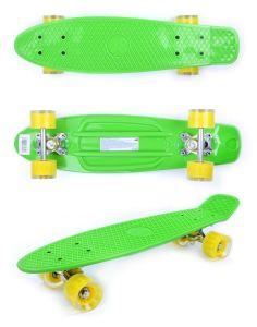 Скейтборд детский GO Travel зеленый желтые прозрачные колеса 56 см