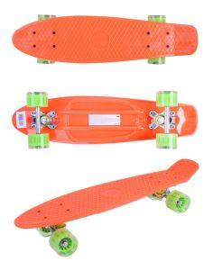 Скейтборд детский GO Travel оранжевый зеленые прозрачные колеса 56 см
