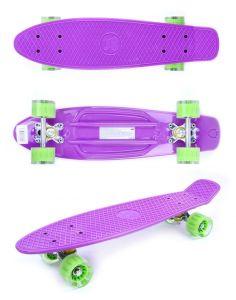 Скейтборд GO Travel фиолетовый зеленые прозрачные колеса 56 см
