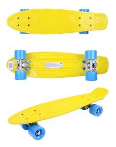 Скейтборд детский GO Travel желтый голубые колеса 56 cм