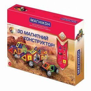 Магнитный конструктор 3-D МАГНИКОН 66 деталей