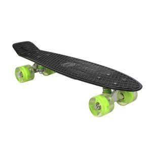 Скейт со светящимися колёсами черный AWAII SK8 Vintage 22.5, до 100 кг