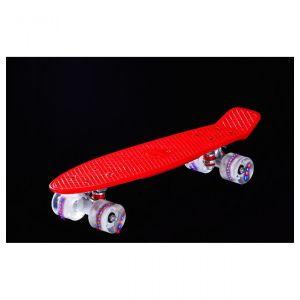 Пенни борд с подсветкой колёс красный AWAII SK8 Vintage 22.5, до 100 кг